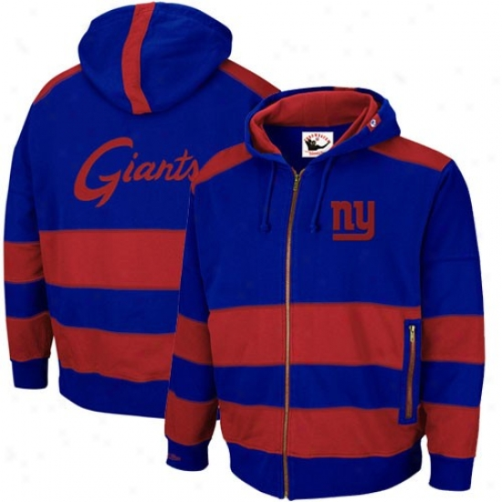 New York Giant Hoodie : Mitchell & Ness New York Giant Royal Blue-red Object Line Throwback Full Zip Hoodie