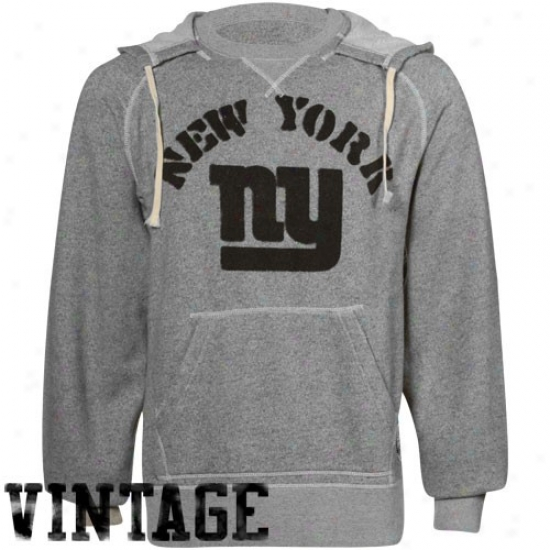 New York Giant Hoodys : Reebok New York Giant Ash R3-issue Retro Sport Crew Neck Hoodys
