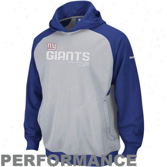 New York Giant Hoodys : Reebok New York Giant Gray Sideline Performance Pullover Hoodys