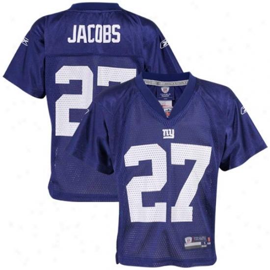 Starting a~ York Giant Jerseys : Reebok Nfl Equipment New York Giant #27 Brandon Jacobs Preschool Royal Blue Autograph copy Football Jerseys