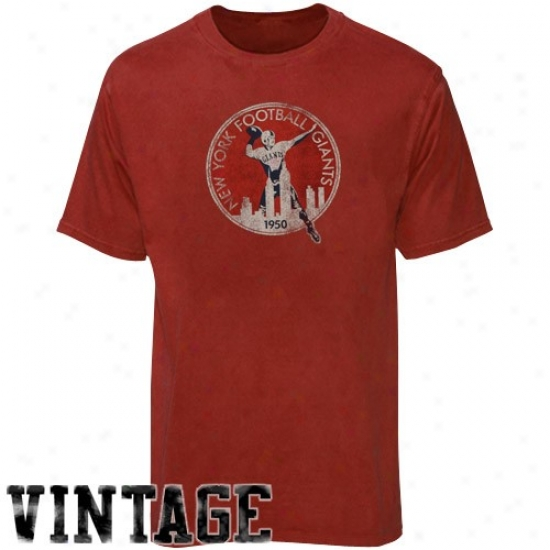 New York Giant Shirt : Reebok Nww York Giant Red Retro Logo Vintage Premium Shirt