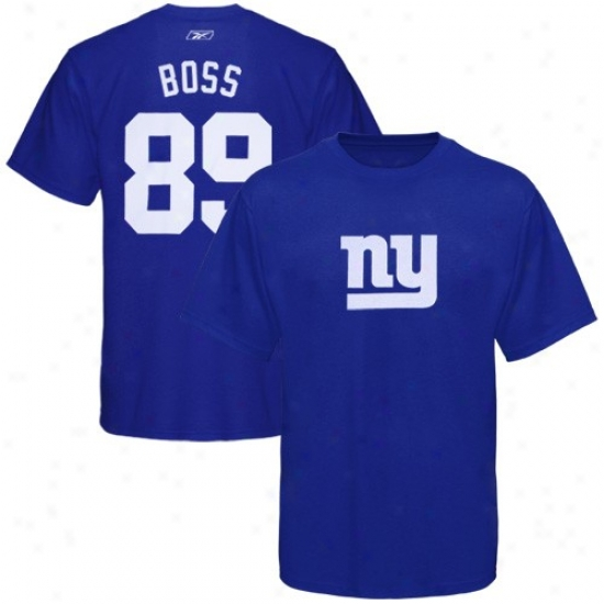New York Giant Shirts : Rebok New York Giant #89 Kevin Boss Royal Blue Scrimmage Gear Player Shirts