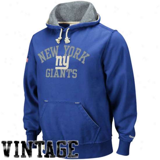 New York Giant Sweatshirts : ReebokN ew York Giant Royal Blue Vintage Pullover Sweatshirts