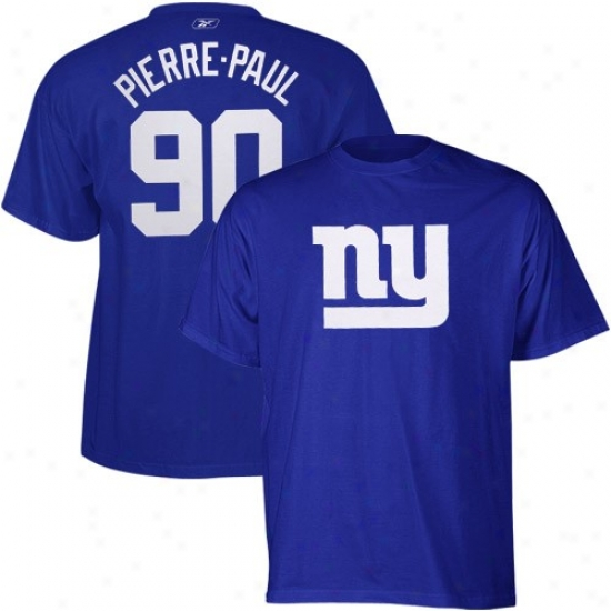 New York Giant T-shirt : Reebok New Yodk Gianf #90 Jason Pierre-paul Royal Blue Scrimmage Gear Player T-shirt