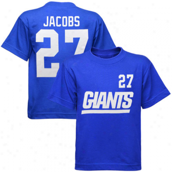 New York Giant Tee : Reebok New York Giant #27 Brandon Jacobs Y0uth Royal Blue Game Gear Tee