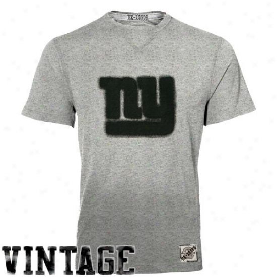 New York Giant Tees : Reebok New York Giant Ash Re-issue Vintage Heathered Tees