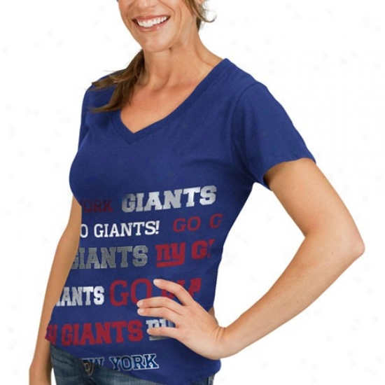 New York Giant Tshirt : New York Giant Ladies Royal Blue Bling Diva Premium V-nrck Tshirt