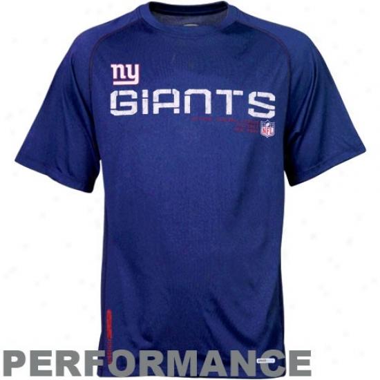 New York Giant Tshirt : Reebok Just discovered York Giant Noble Blue Sideline Speedwick Performance Heathered Tshirt
