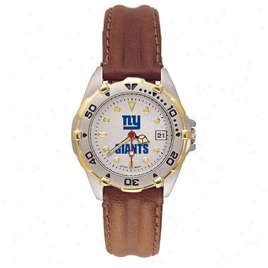 New York Giant Wrist Watch : New York Giant Ladies All Star Wrist Watch W/leather Band