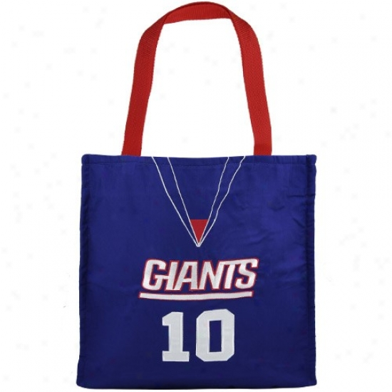 New York Giants #10 Eli Manning Royal Blue Jersey Tote Bag