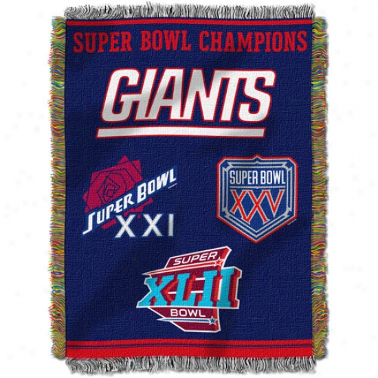 New York Giants 2 Time Super Bowl Champions 48x60 Blanket Throw