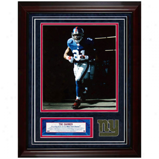 New York Giants #21 Tiki Barber 11'' X 14'' Unsigned Turf Collage