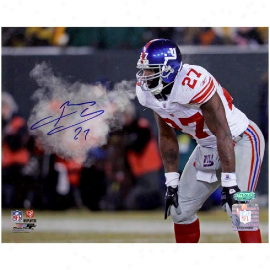 New York Giants #27 Brandon Jacobs Autographed Breathing Cold Air During Nfc Championship Game 8'' X 10'' Photograph