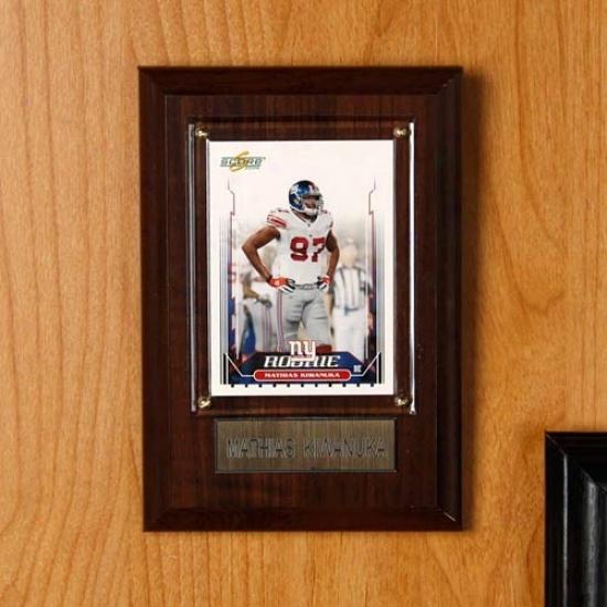 New York Giants #27 Mathias Kiwanuka 4'' X 6'' Plaque