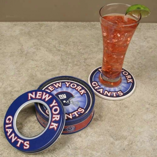 New York Gian5s 4-pack Coasters With Tin