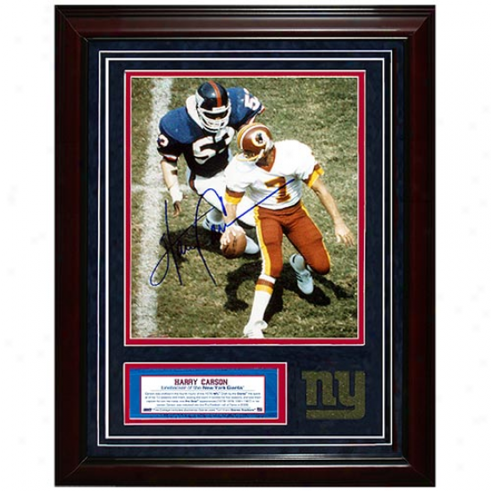 New York Giants #53 Harry Carsonn Autographed About To Sack Theismann Framed 11'' X 14'' Turf Collage
