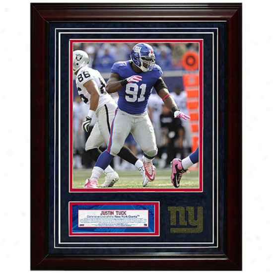 New York Giantq #91 Justin Tuck 11''' X 14'' Unsigned Race-course Collage
