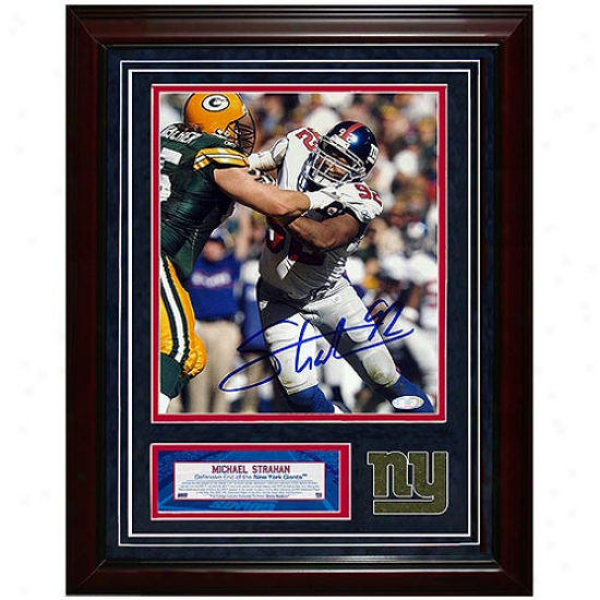New York Giants #92 Michael Straahn Autographed Battling Mark Tauscher Framed 11'' X 14'' Turf Collage