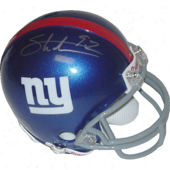 New York Giants #92 Michael Strahan Autographed Riddell Mini Replica Helm