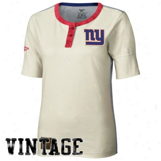 New York Giants Dress: Reebok New York Giants Ladies Choice part Constructed 1/2 Sleeve Henley Premium T-shirt