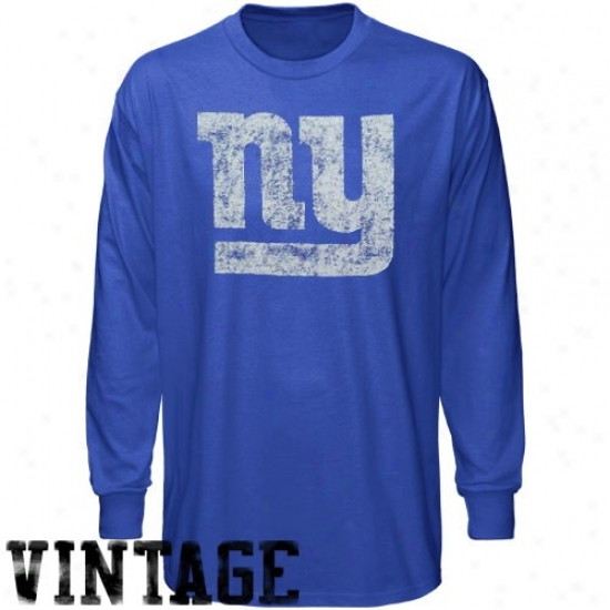 New York Giants Apparel: Reebok New York Giants Youth Royal Blue Faded Logo Vintage Long Sleeve T-shirt