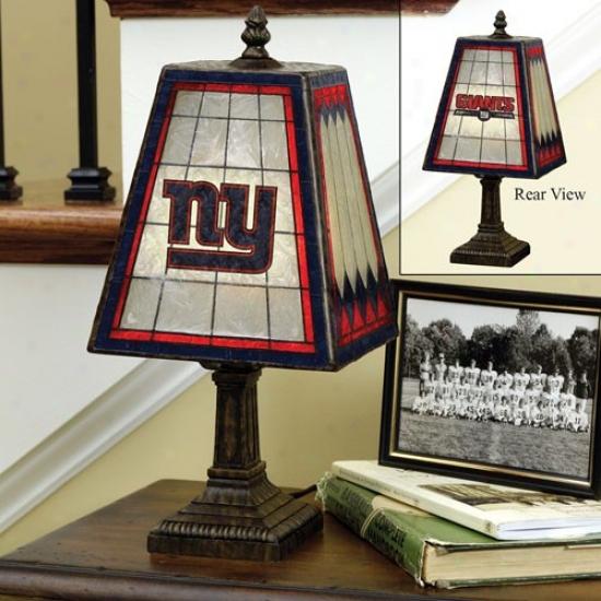 Recent York Giants Art-glass Table Lamp