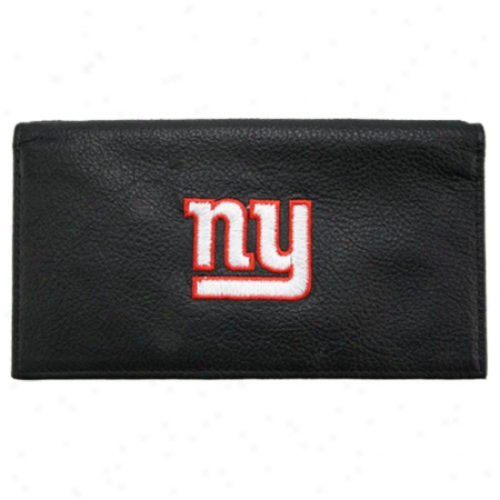 Repaired York Giants Black Embroidered Leather Checkbook Cover