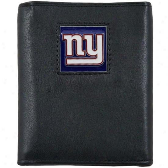 New York Giants Black Genuine Leather Execcutive Trifold Wallet