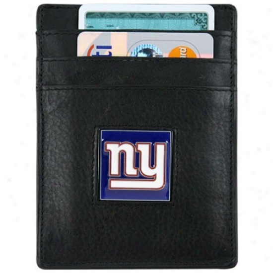 New York Giants Black Leather Executive Card Holder & Money Clip
