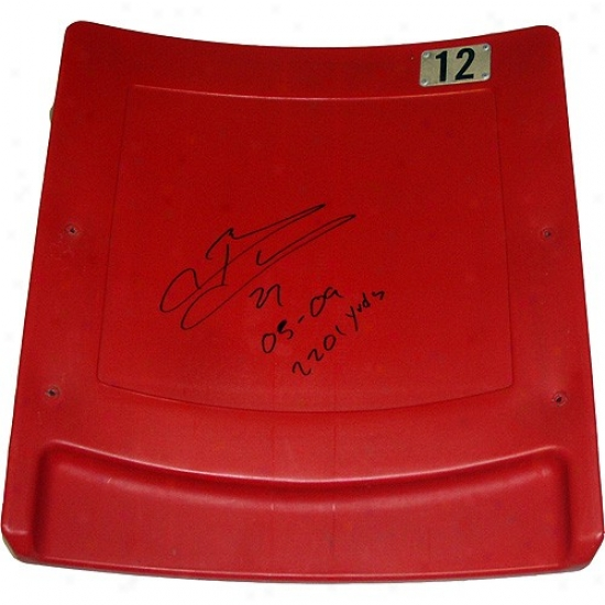 """new York Giants Brandon Jacobs Ahtographed Authentic Meadowlands Seatback W/ """"05-09, 2201 Yards"""" Inscription"""