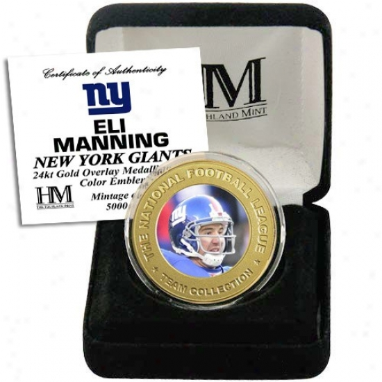 New York Giants Eli Manninh 24kt Gold Commemorative Coin