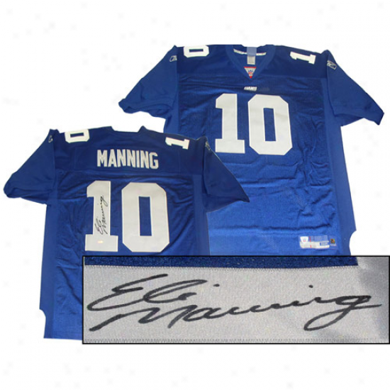 Recent York Giants Eli Manning Autographed Genuine Jersey - Kingly Blue