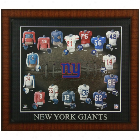 Repaired York Giants Evolution Of The Team Uniform Framed Picture