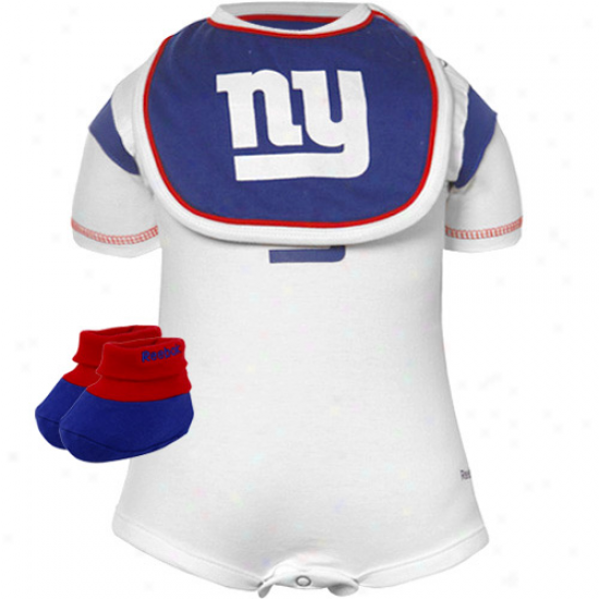 New York Giants Infant White Three Piece Creeper Set