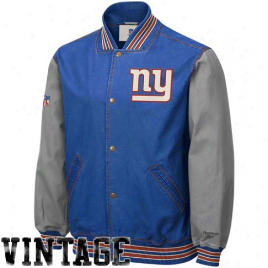 New York Giants Jackets : Reebok New York Giants Noble Blue Throwbacj Varsity Cahvas Jackets