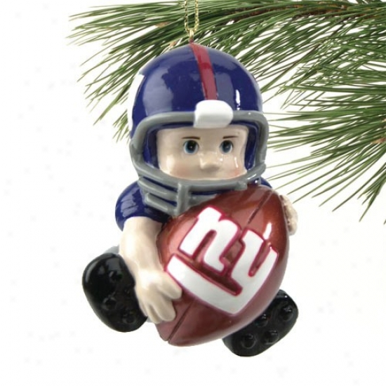 Repaired York Giants Lil' Fan Football Player Acrylic Ornament