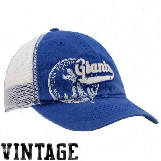 New York Giants Merchandise: Reebok New York Giants Royal Blue Retro Mesh Back Adjustable Hat
