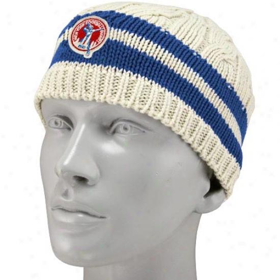 New York Giants Merchandise: Reebok New York Giants Ladies Tan Retro Logo Braided Knit Beanie