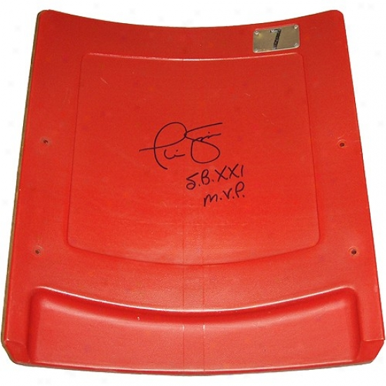 """new York Giants Phil Simms Autographed Authentic Seatback From Giants Stadium W/ """"sb Mvp"""" Inscription"""