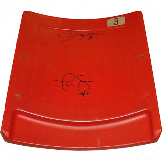 Repaired York Giants Phil Simms & Lawrence Taylor Dual Signed Authentic Seatback From Giants Staxium