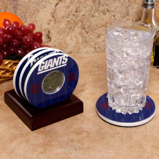 New York Giants Royal Blue Team Logo And Field Coasters With Meadowlands Stadium Turf Blade Capsules