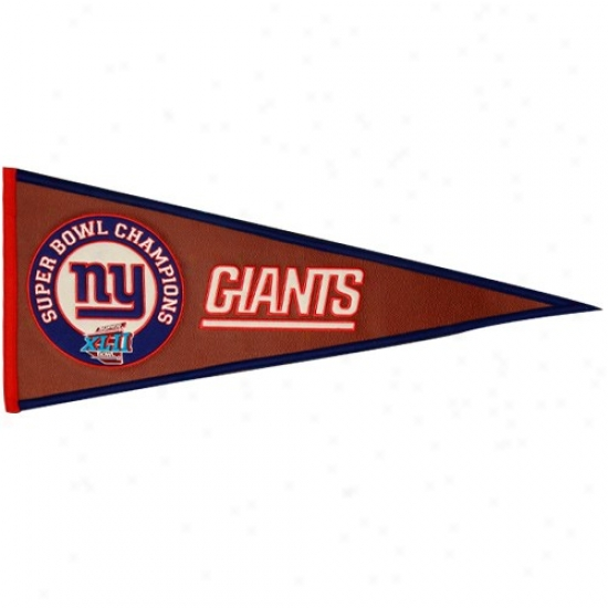 New York Giants Super Bowl Xlii Champioship Pigskin/felt Pennant