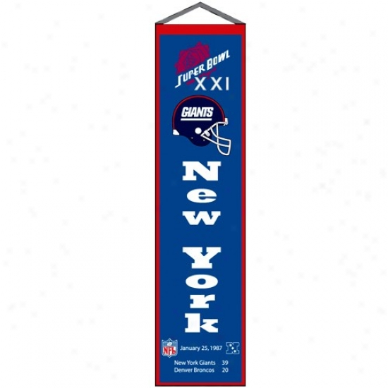 New York Giants Super Hollow Xi Champions Royal Blue Heritage Banner
