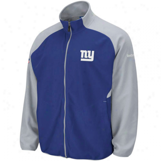 New York Giants Sweat Shirt : Reebok New York Giants Royal Blue-gray Sideline Full Zip Sweat Shirt Jacket