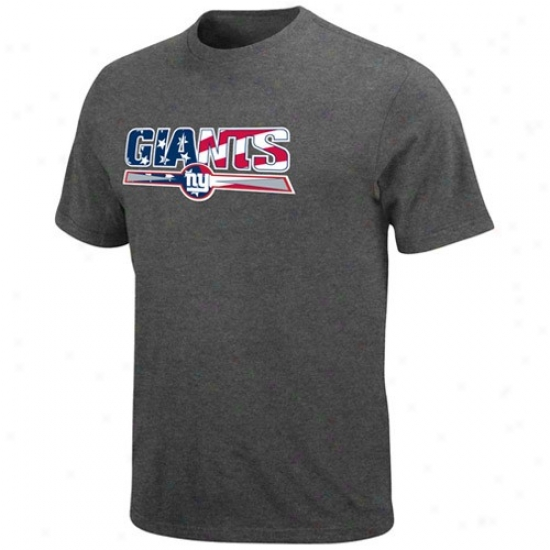 New York Giants T Shirt : New York Giants Charcoal Stars & Stripes Logo T Shirt