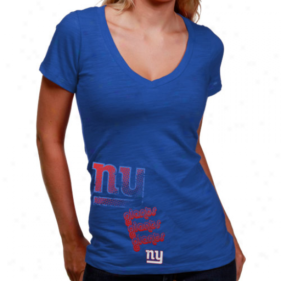New York Giants T Shirt : New York Giants aLdies Royal Blue Triple Play V-neck Slub T Shirt