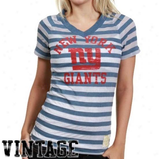 New York Giants Tee : Reebok New Yoro Giants Ladies Royal Blue Retro Burnout Stripe Tee