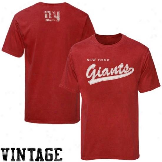 New York Giajts Tee : Reebok New York Giants Youth Red Script Tail Tee
