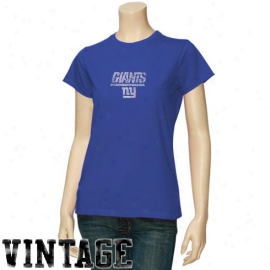 New York Giants Tshirt : New York Giants Ladies Royal Blue Gutsy Play Vintage Tshirt