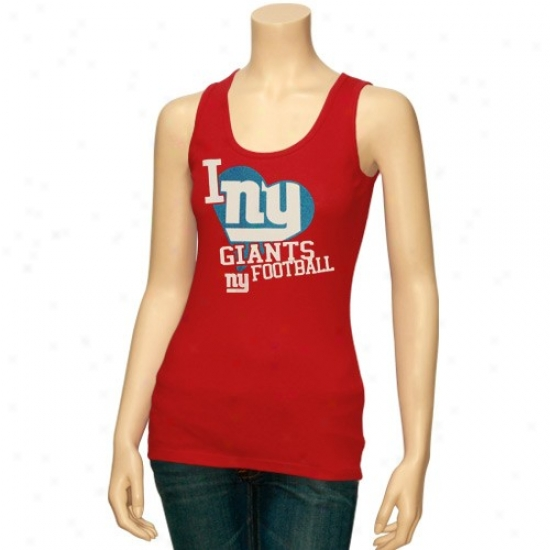 New York Giants Tshirt : Reebok New York Giants Ladies Red Scrapbook Love Tank Top